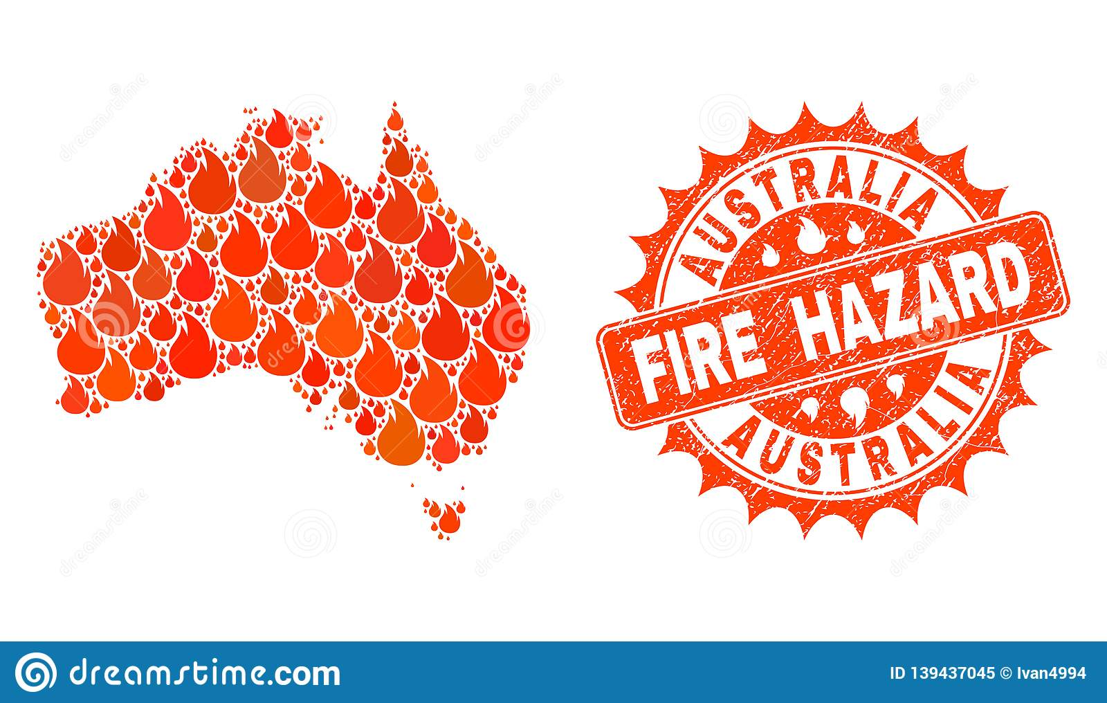 Composition Of Map Of Australia Burning And Fire Hazard ...