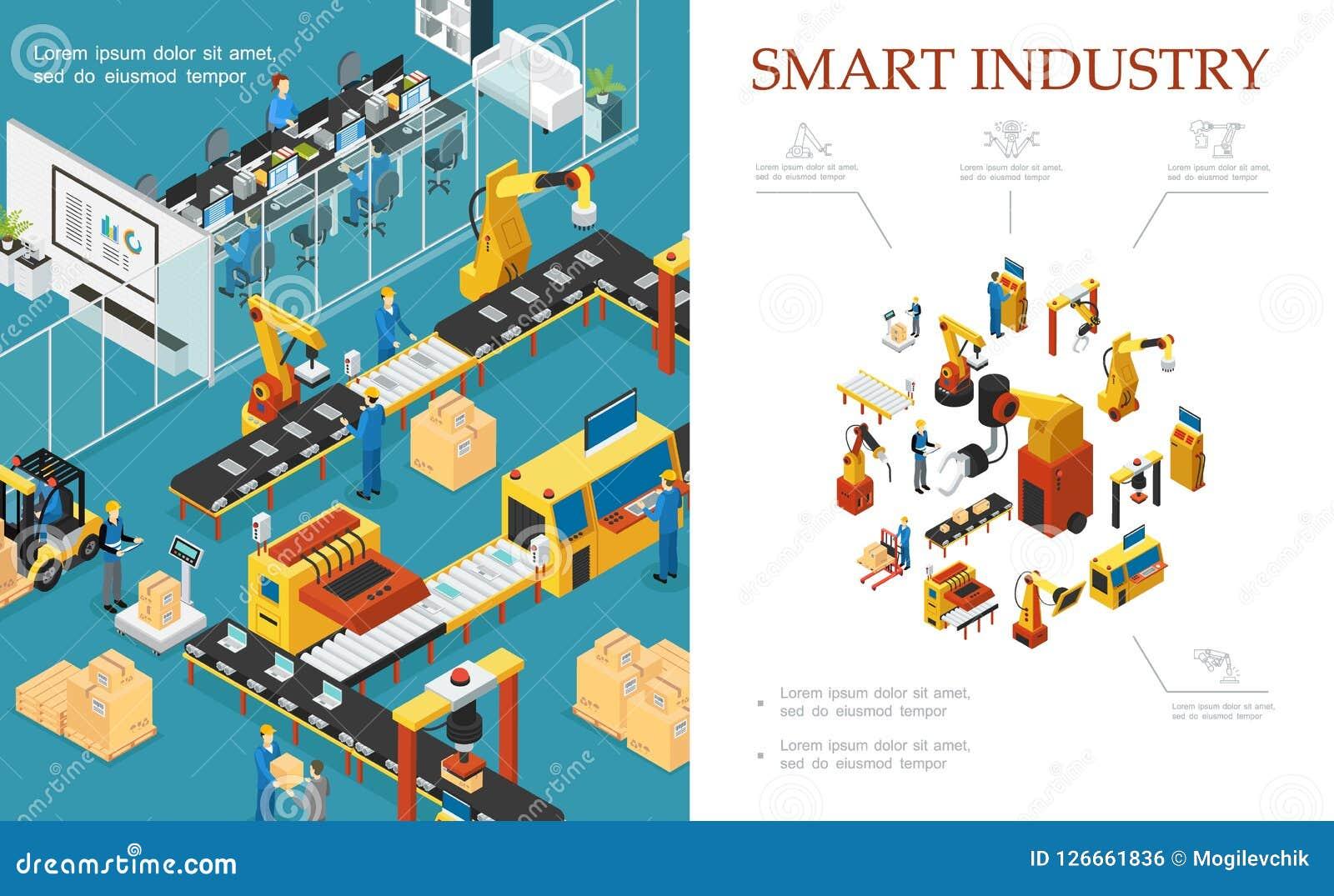 Composition moderne isométrique en production industrielle
