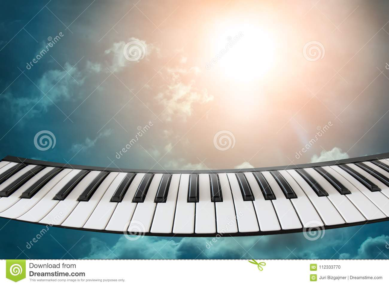 Composition Of Piano Keyboard On Sky Background  Stock Photo - Image
