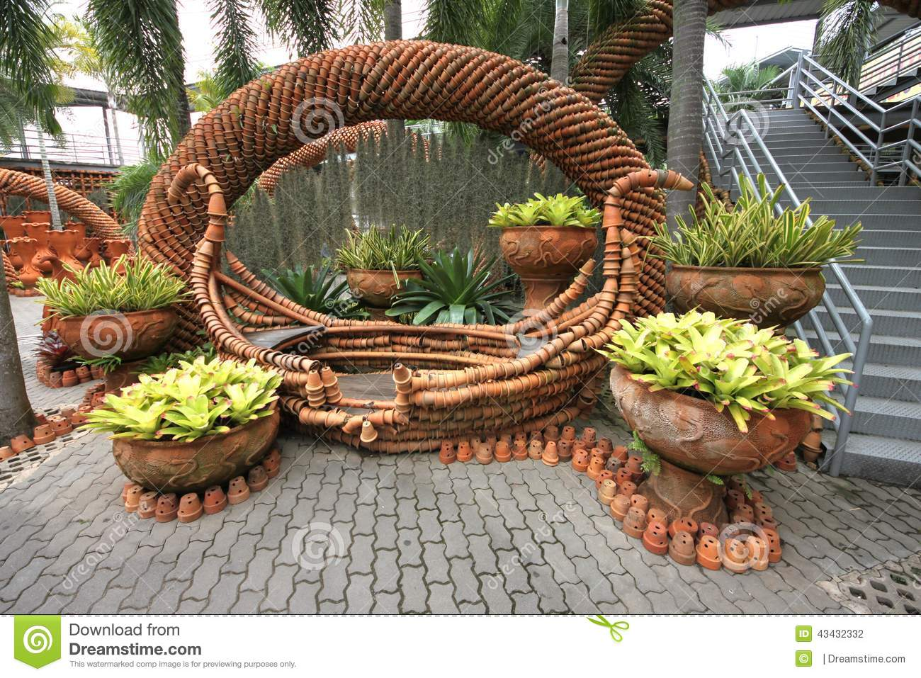 A Composition Of Pots With Flower Beds In The Nong Stock Photo Image Of Heat Splash 43432332