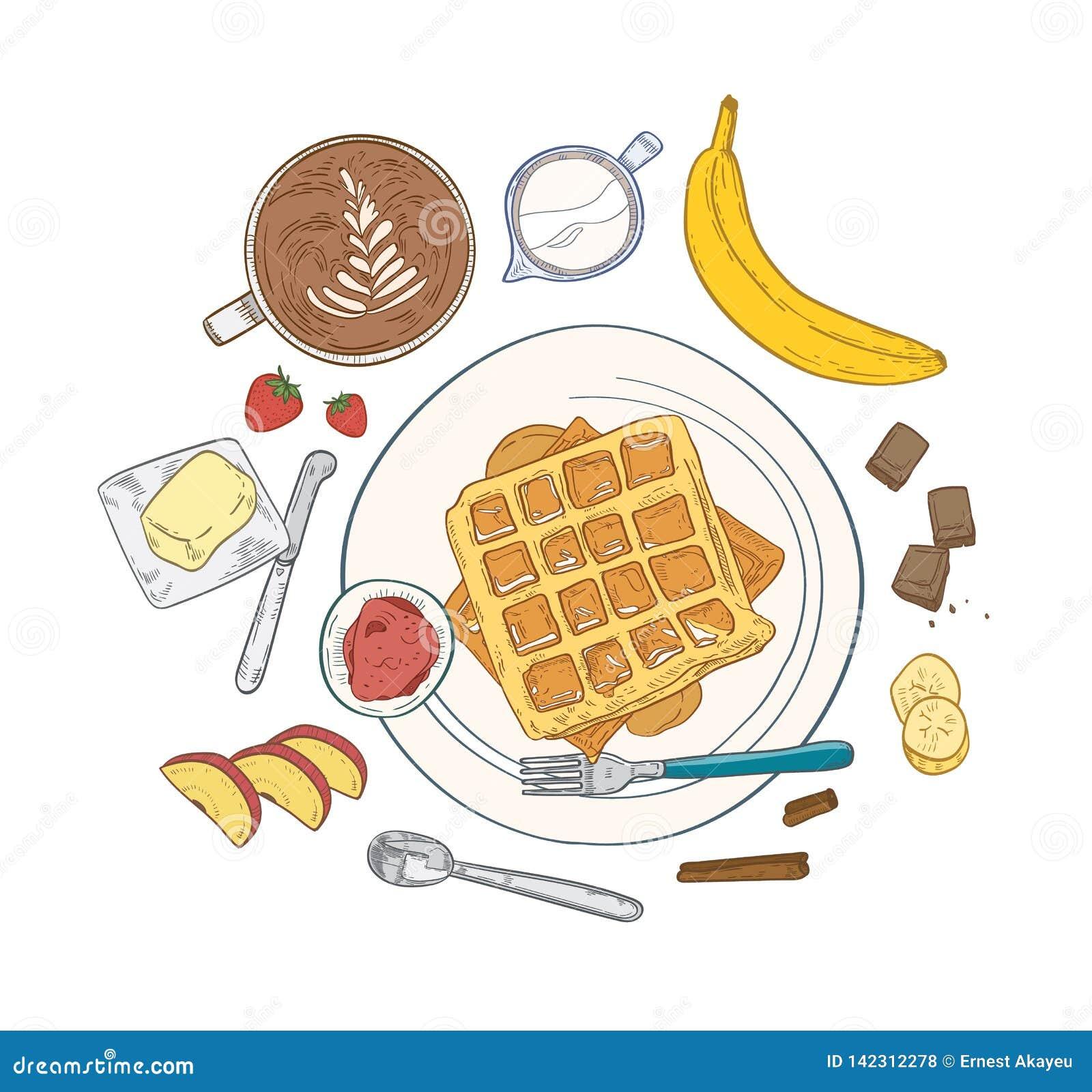 Composition réaliste avec les repas de petit déjeuner et la nourriture doux délicieux de matin de dessert - gaufrettes se trouvan