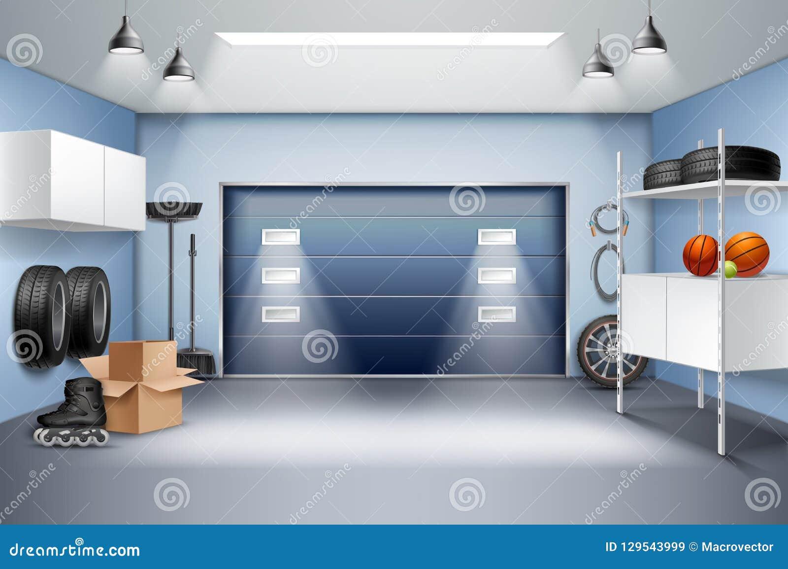 Composition réaliste intérieure en garage