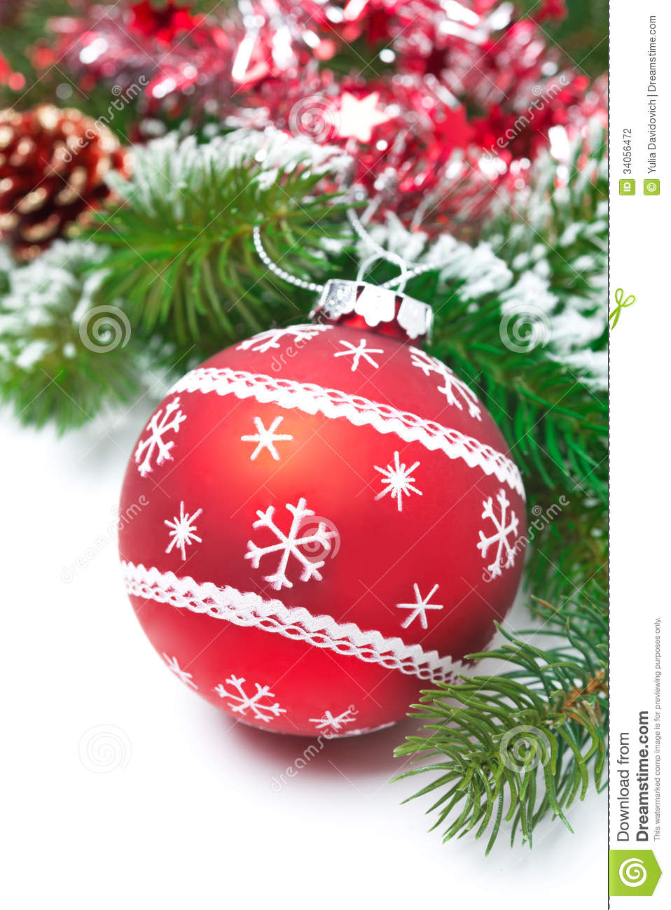 Composition with red christmas ball and fir branches stock
