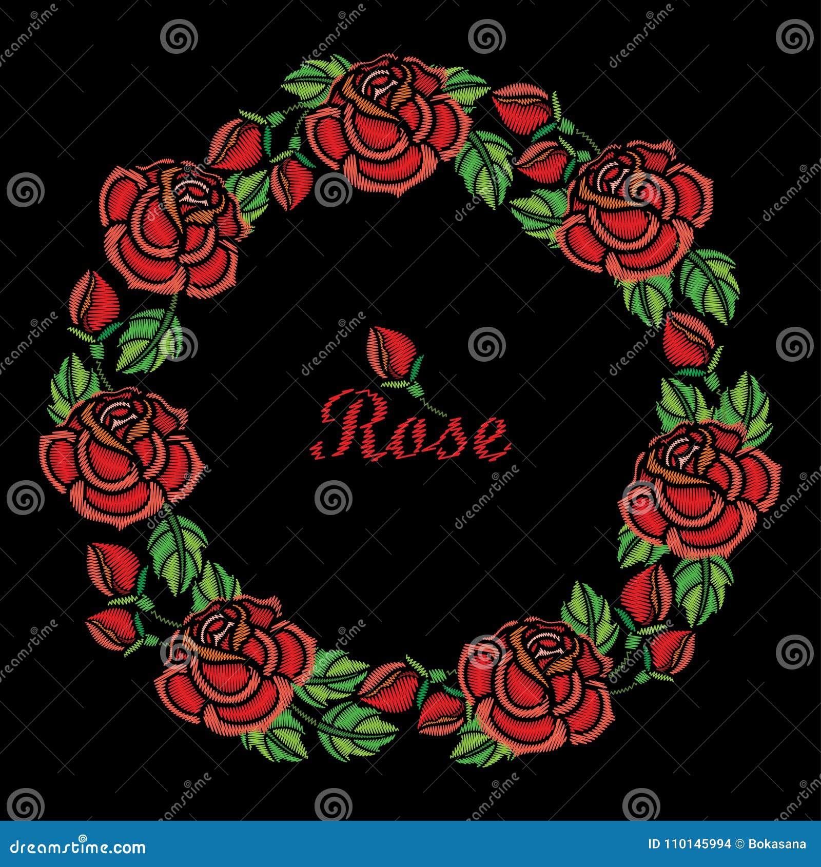 Composition Ronde De Vecteur De Guirlande De Fleur De Rose Rouge De
