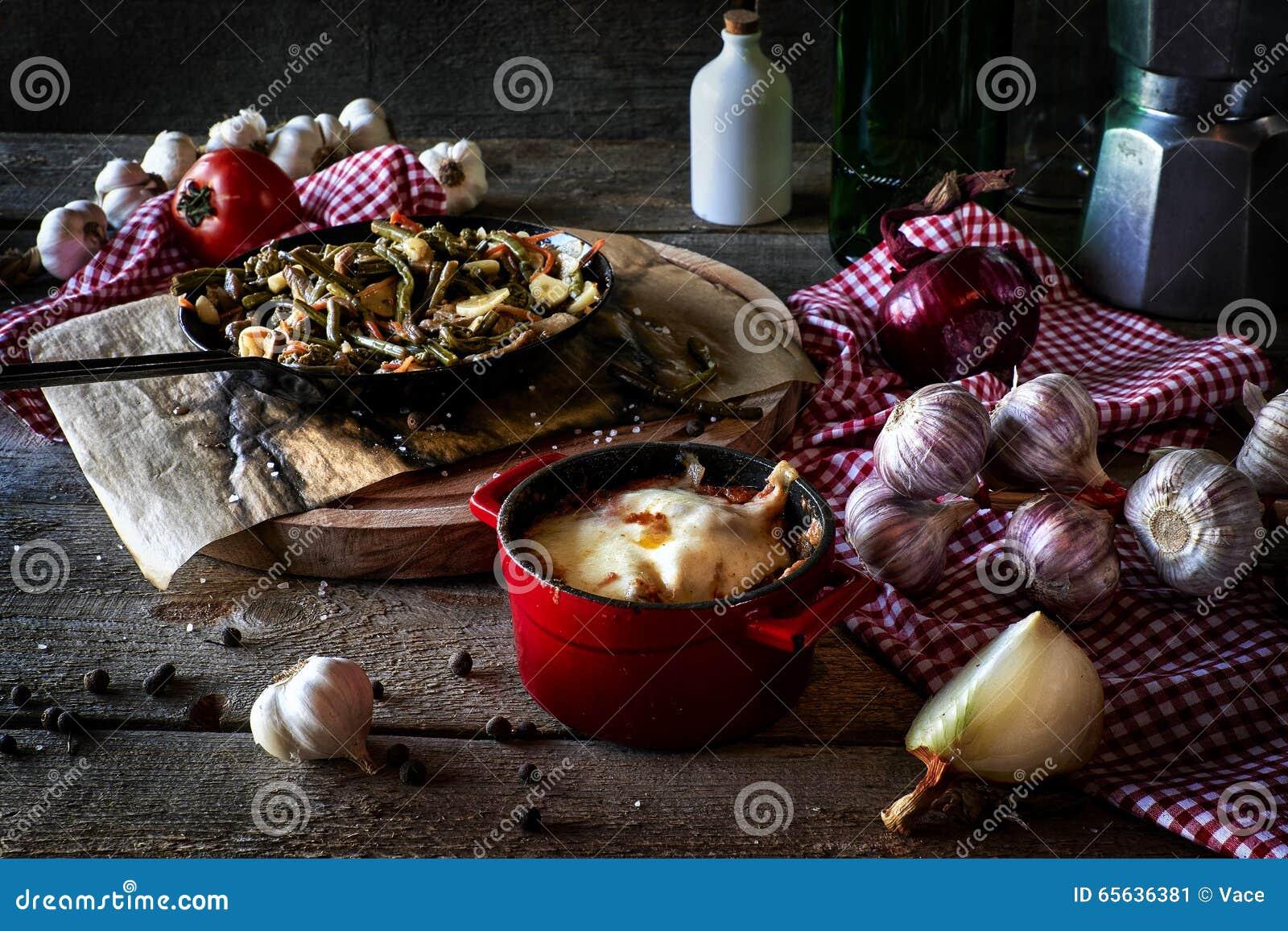 Composition rustique en cuisine