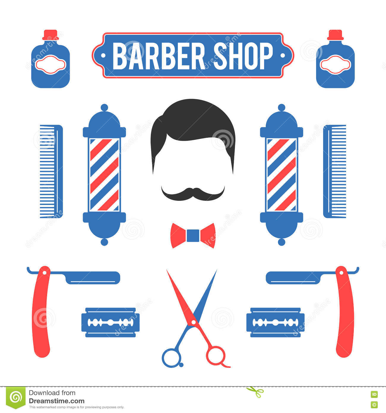 Barber Set Of Shop Elements And Shave Icons Illustration