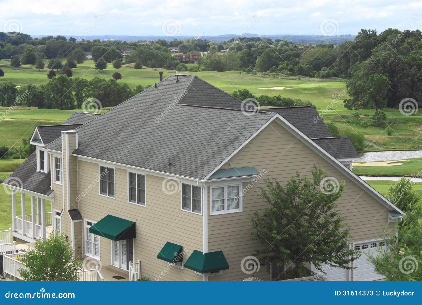 Asphalt Shingle Roof Stock Image Image Of Green Hill