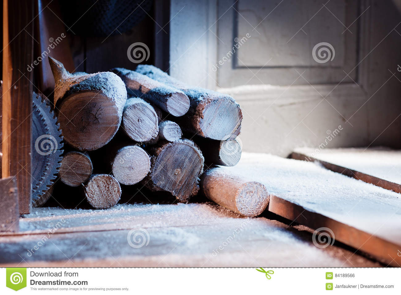 Composition of snowy pieces of wood