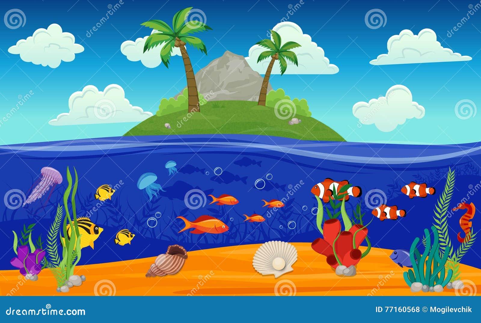 Composition sous-marine en île du monde
