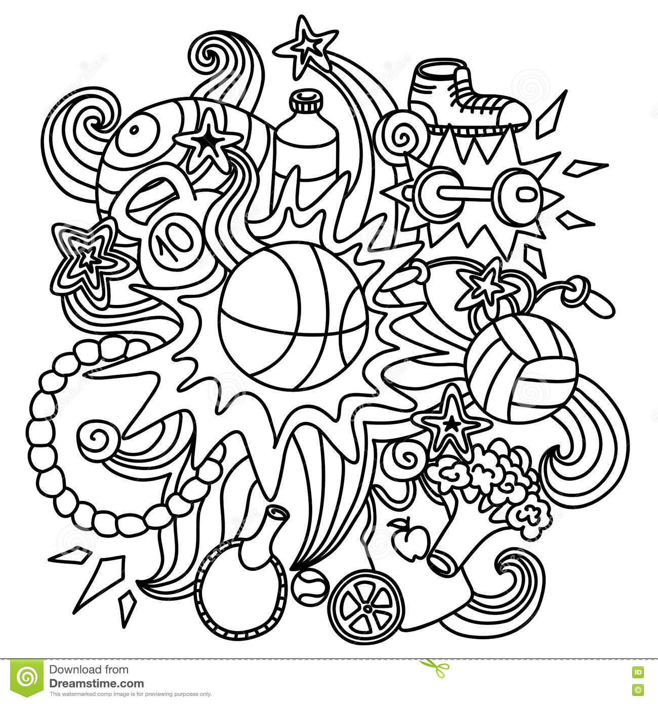 The composition of the sports doodle elements stock vector for Doodle art free