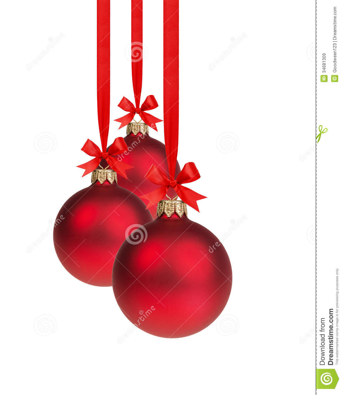 Composition from three red christmas balls hanging on ribbon stock image image 34681309 - Hanging christmas ornaments ...