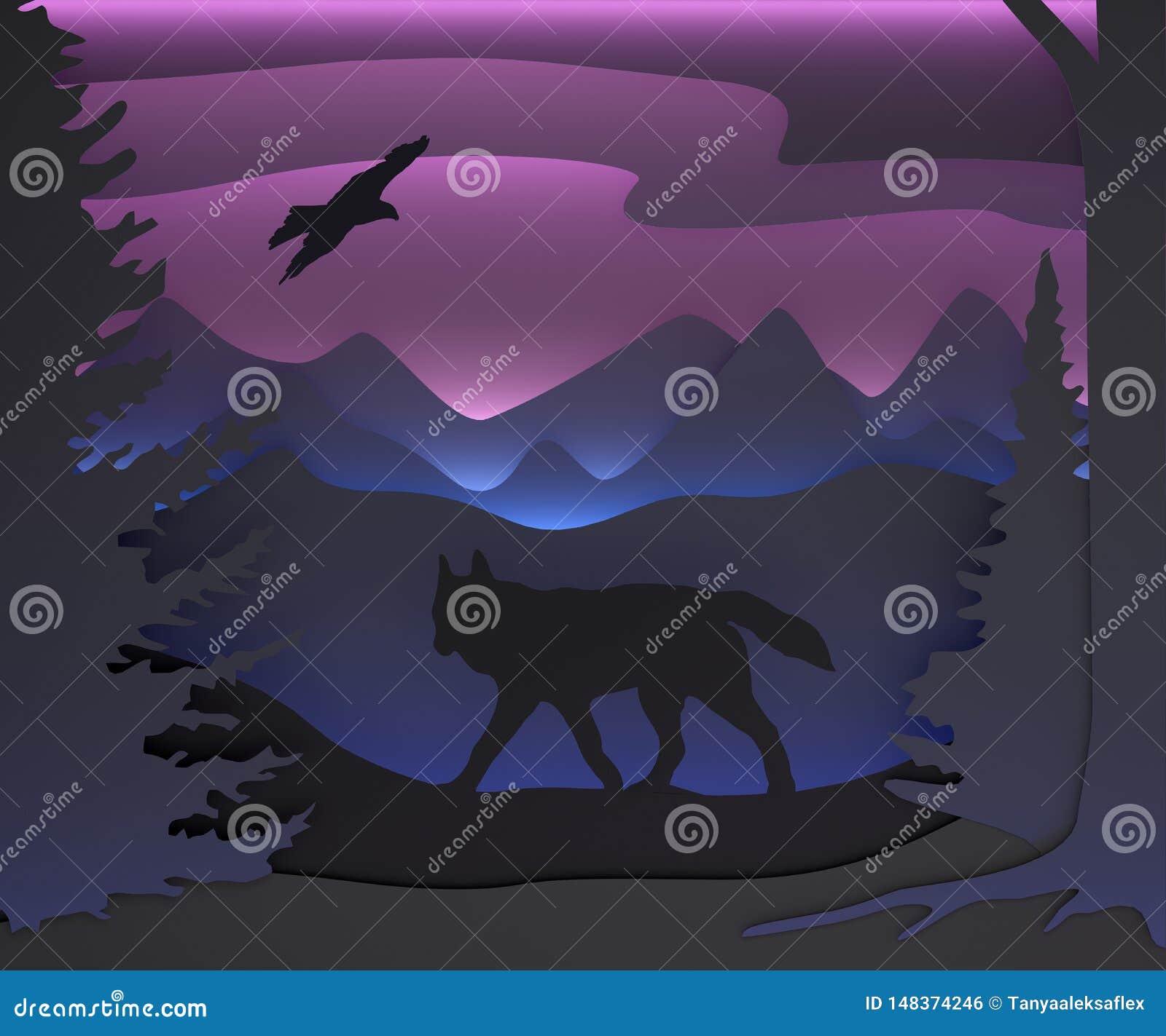Composition tridimensionnelle avec un loup et un aigle For?t de f?erie