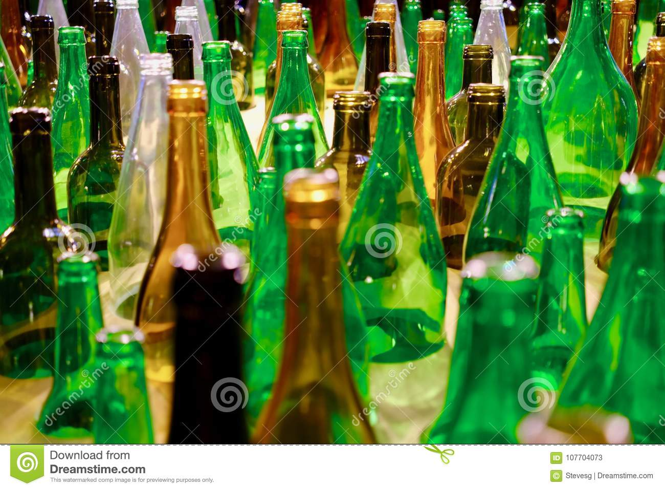 Colored glass bottles stock image. Image of recycle - 107704073