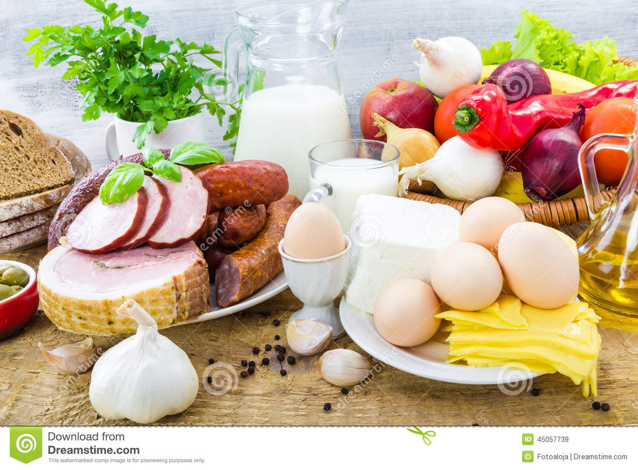 Composition Variety Grocery Products Meat Dairy Stock