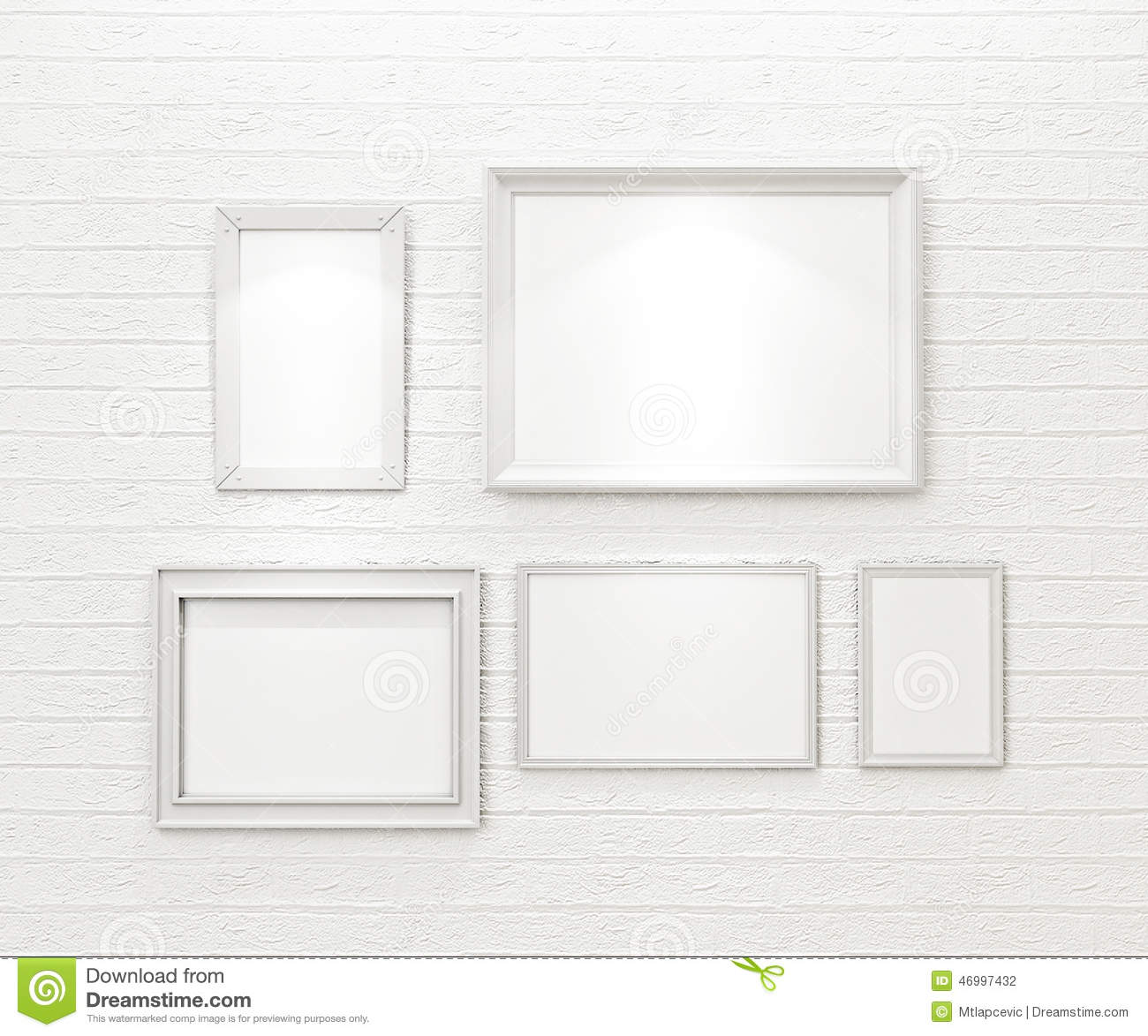 Composition of white blank picture frames on white brick wall with spotlights