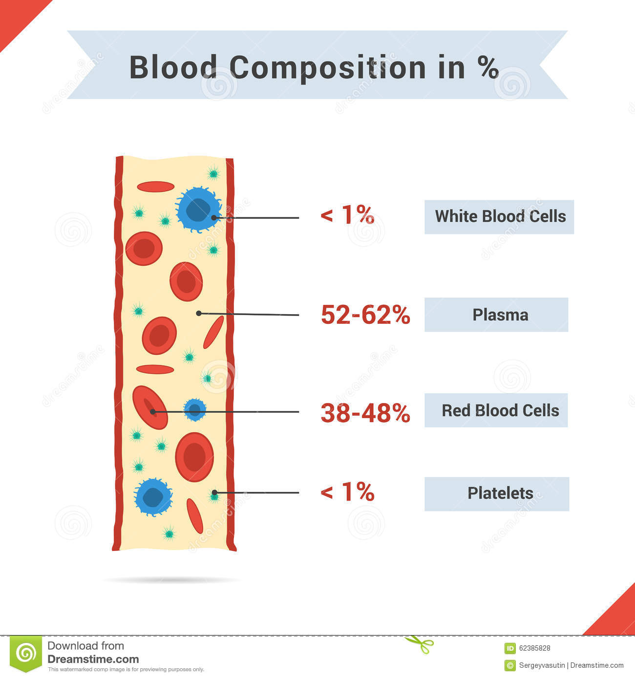 Other Media: Composition Of Whole Blood Stock Vector