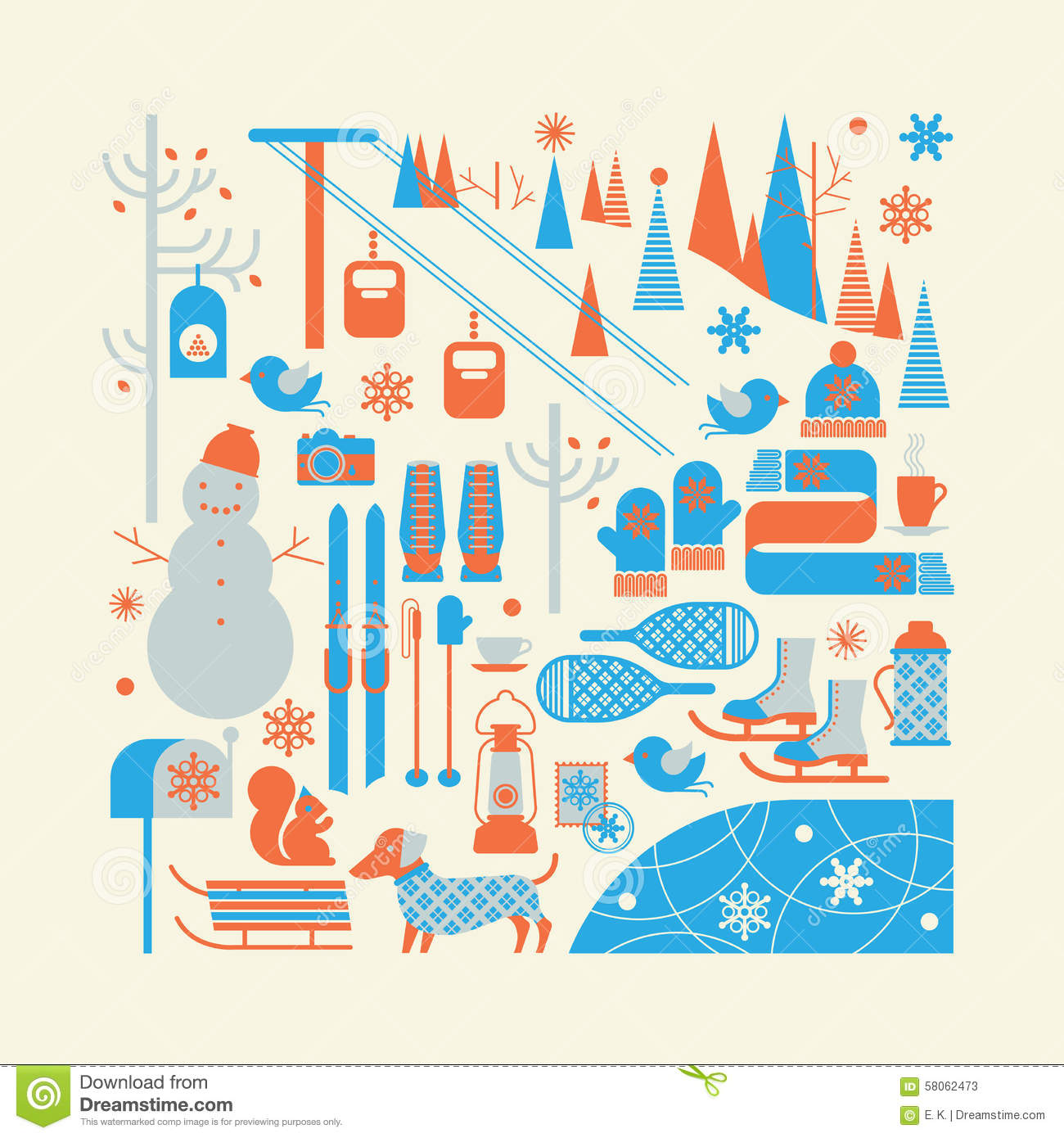 Composition With Winter Sports Stock Vector - Image: 58062473