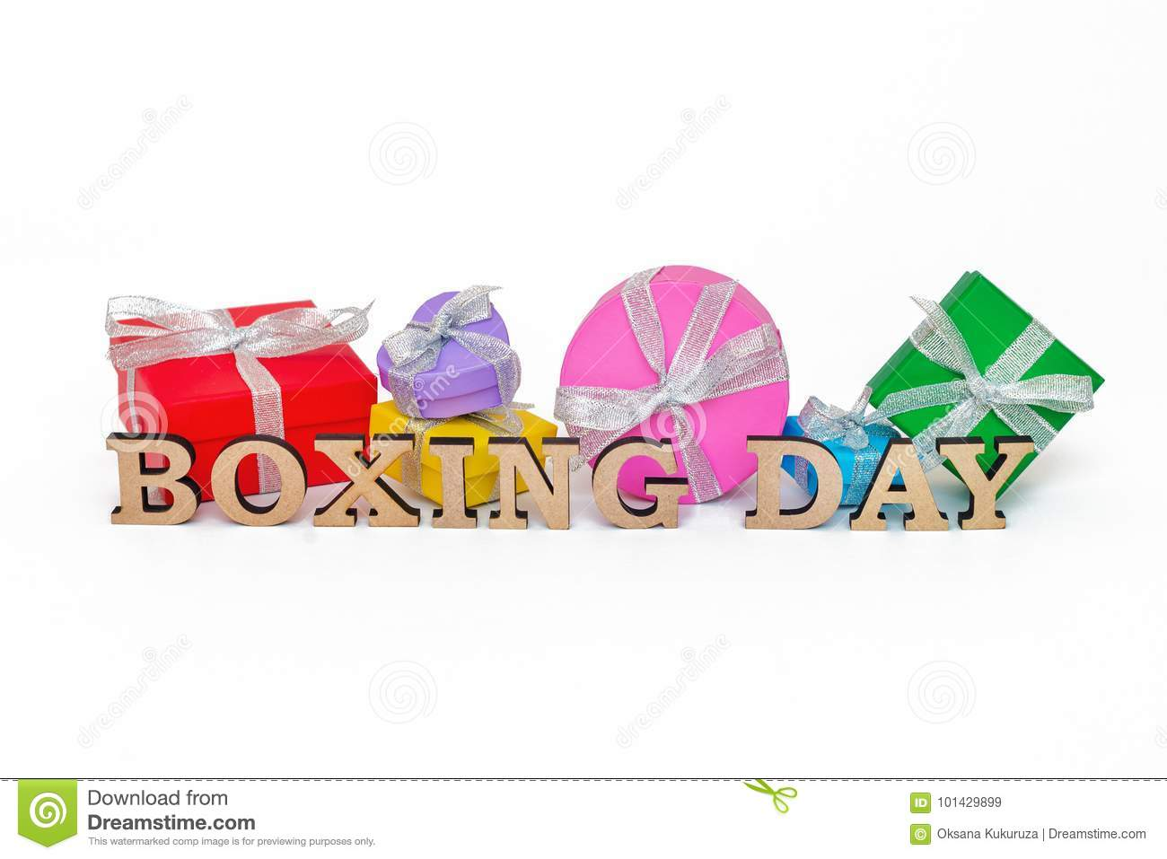 composition with words boxing day and many gift boxes stock image