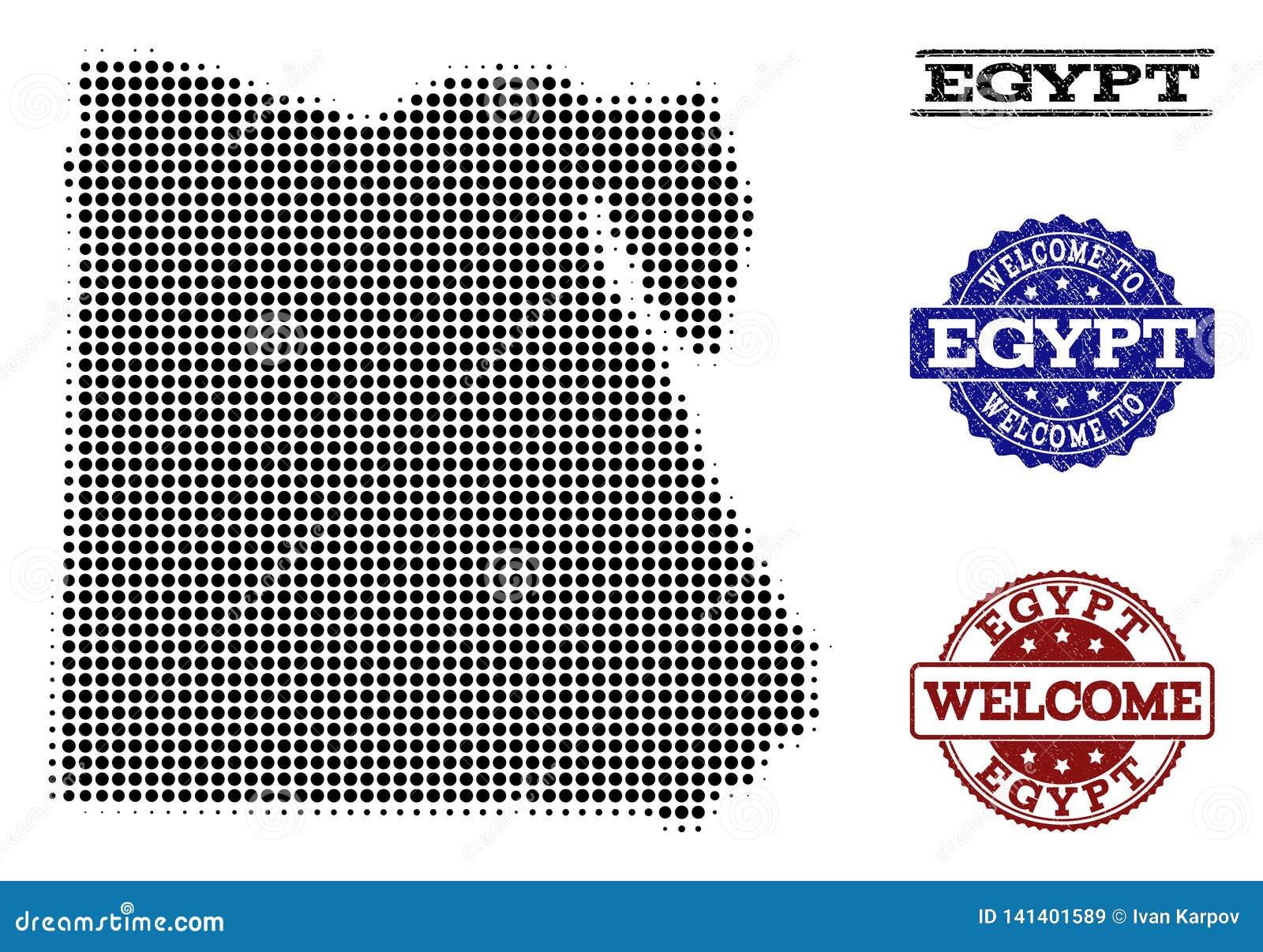 Composizione benvenuta della mappa di semitono dell Egitto e delle guarnizioni strutturate