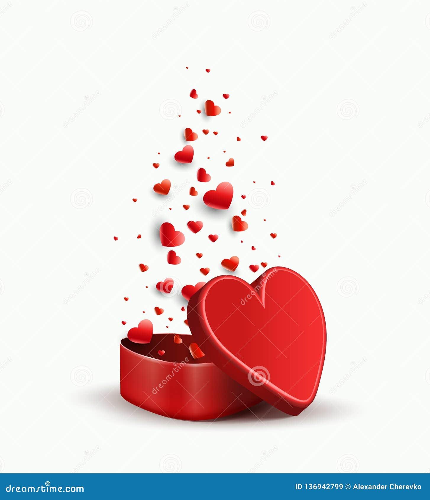 Composizione con un cofanetto rosso e vari cuori rossi,