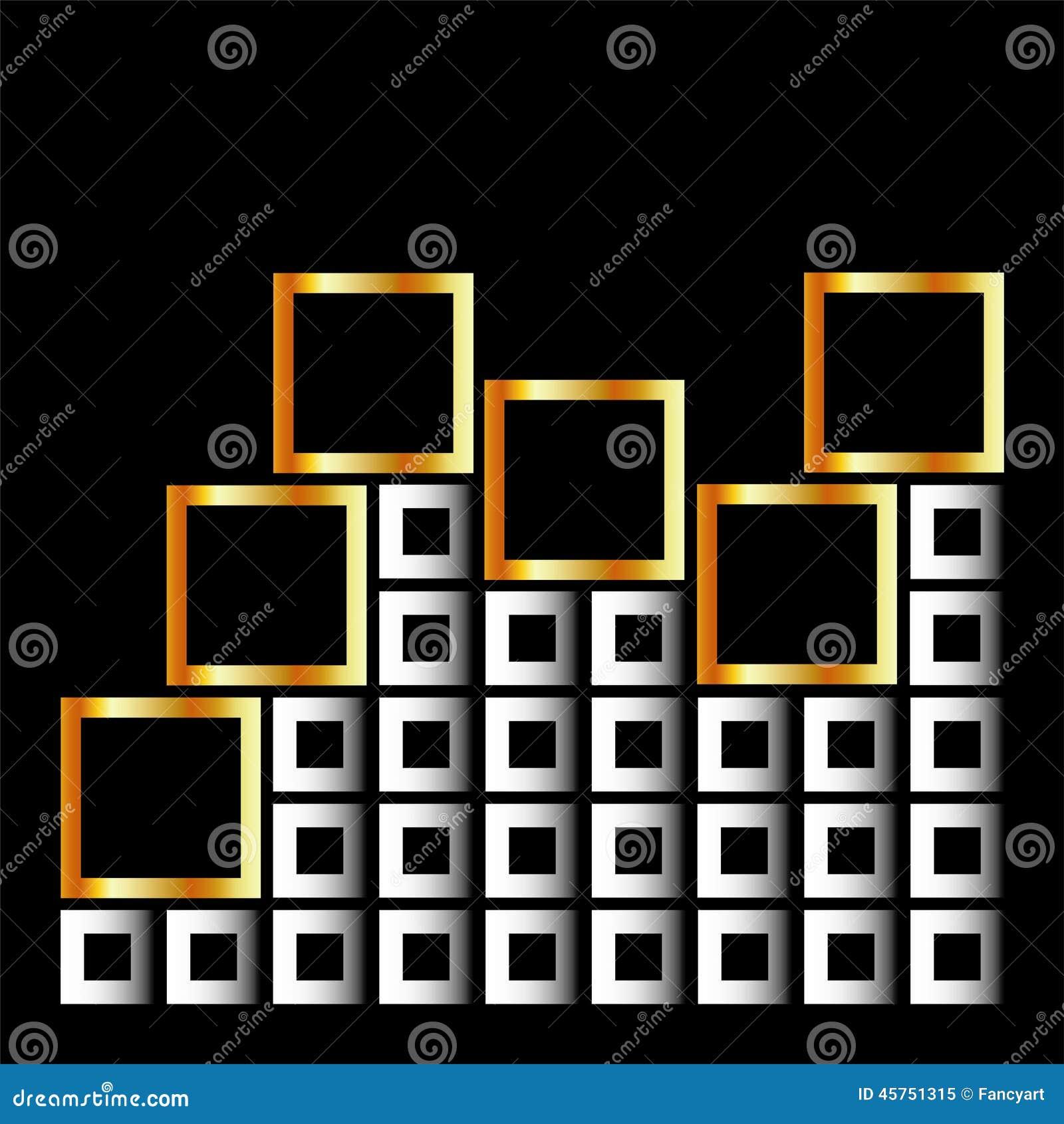 Composizione dei cubi in argento ed oro