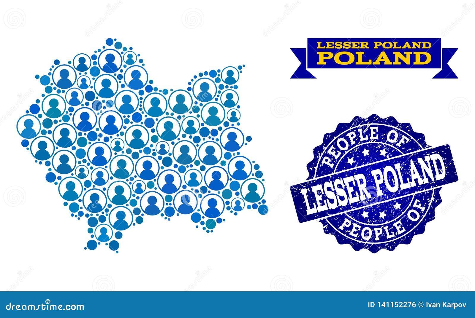 Composizione della gente della mappa di mosaico di Lesser Poland Province e della guarnizione strutturata