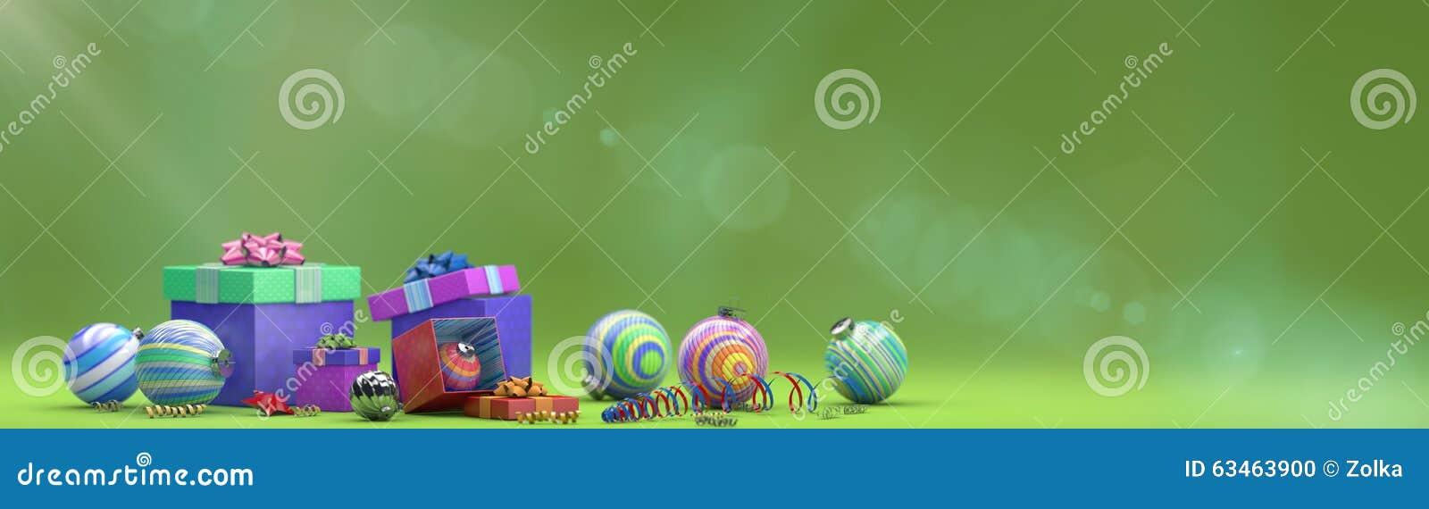 Composizione in festa con la decorazione del giocattolo con la scatola magica