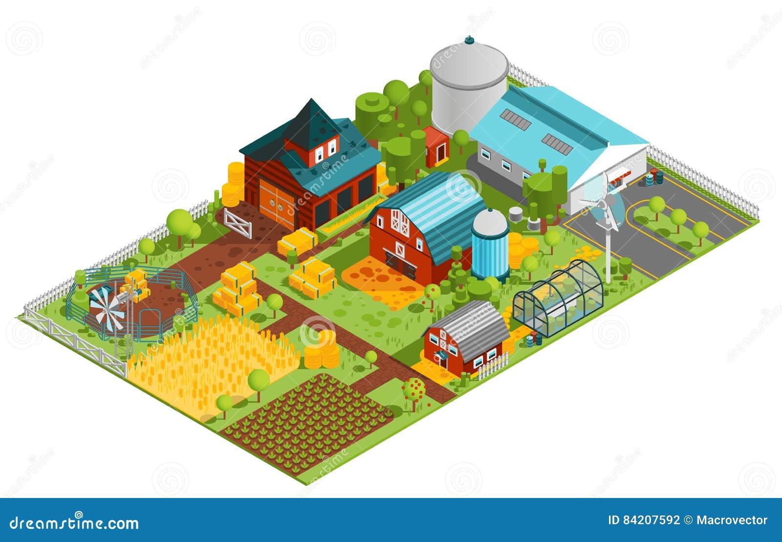 Composizione isometrica nell azienda agricola rurale