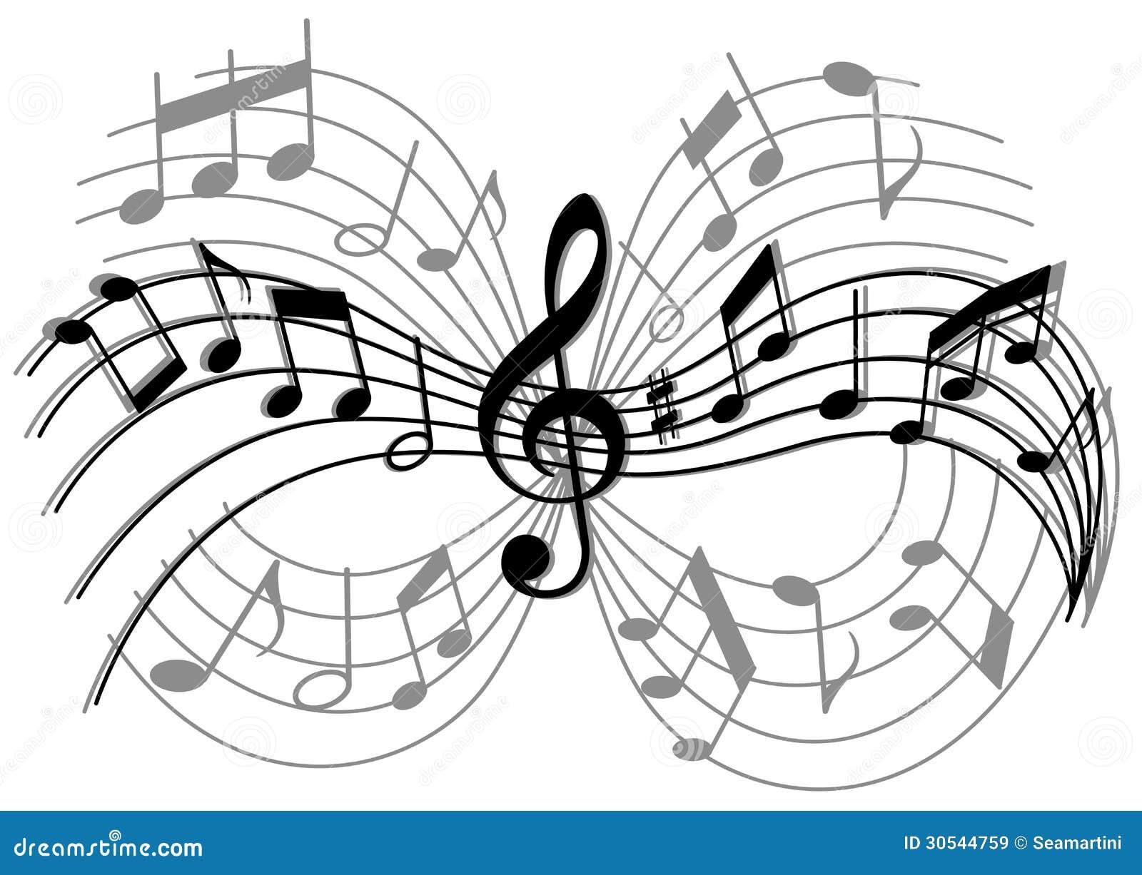 Composizione musicale astratta con gli elementi e le note di musica
