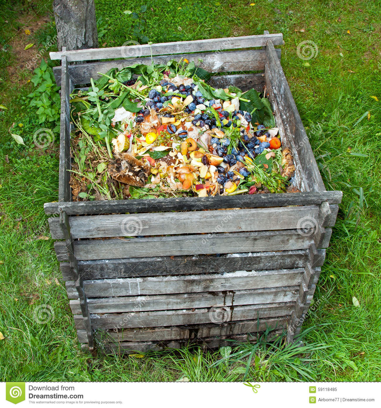 Homemade Fertilizer From Vegetable Scraps: Compost Bin Stock Photo