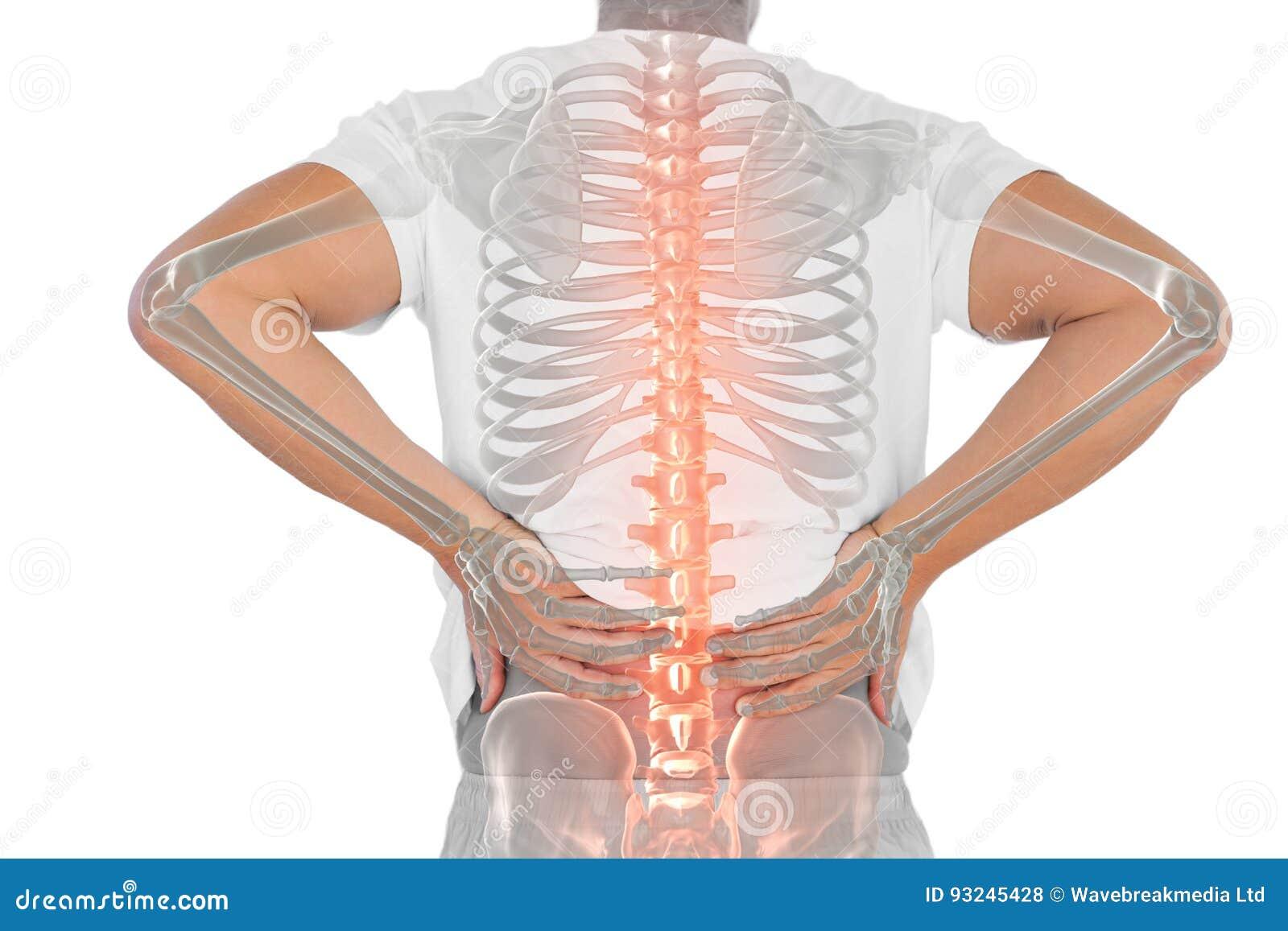 Composto di Digital della spina dorsale Highlighted dell uomo con dolore alla schiena
