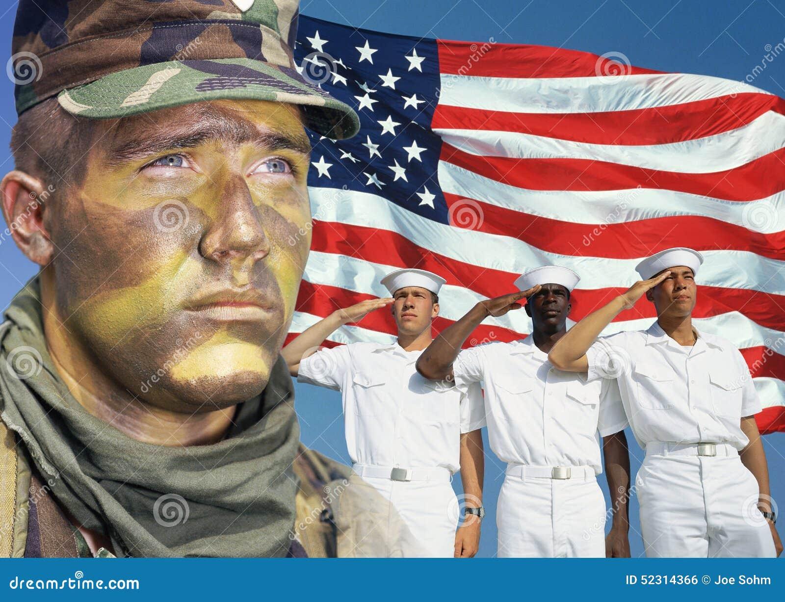 Composto di Digital: Soldato americano, marinai e bandiera americana
