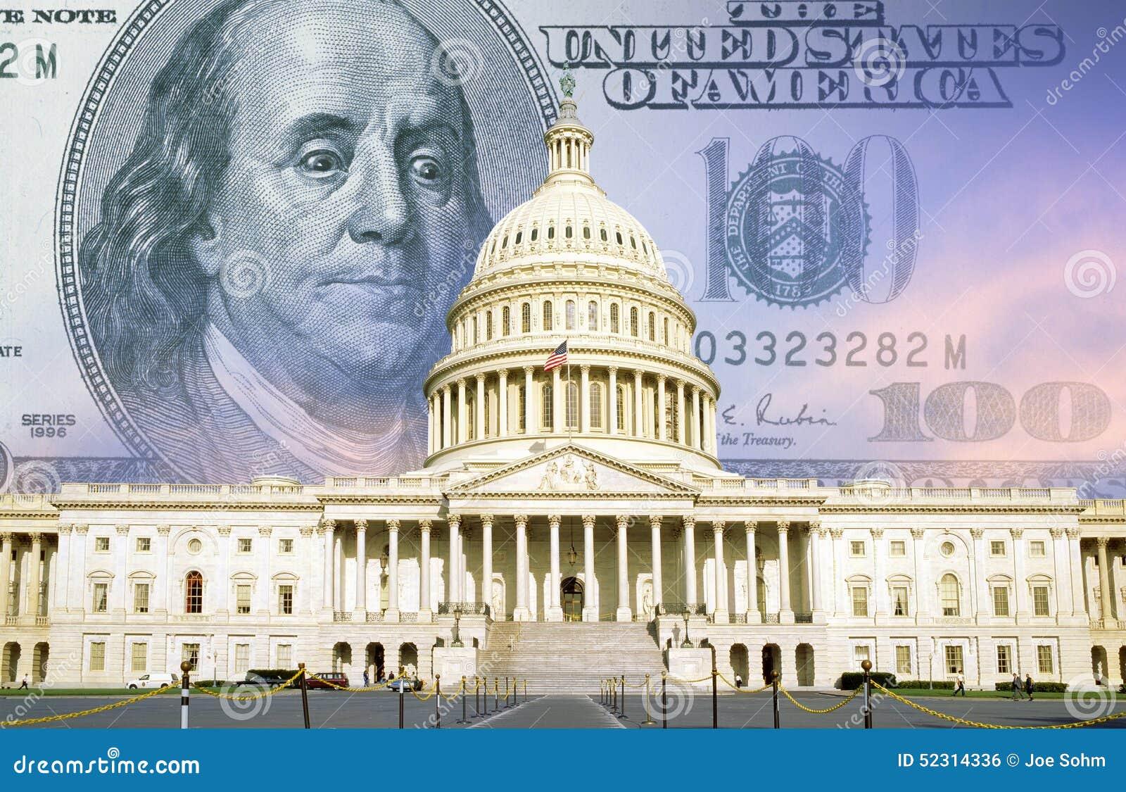 Composto di Digital: U S Campidoglio con cento banconote in dollari