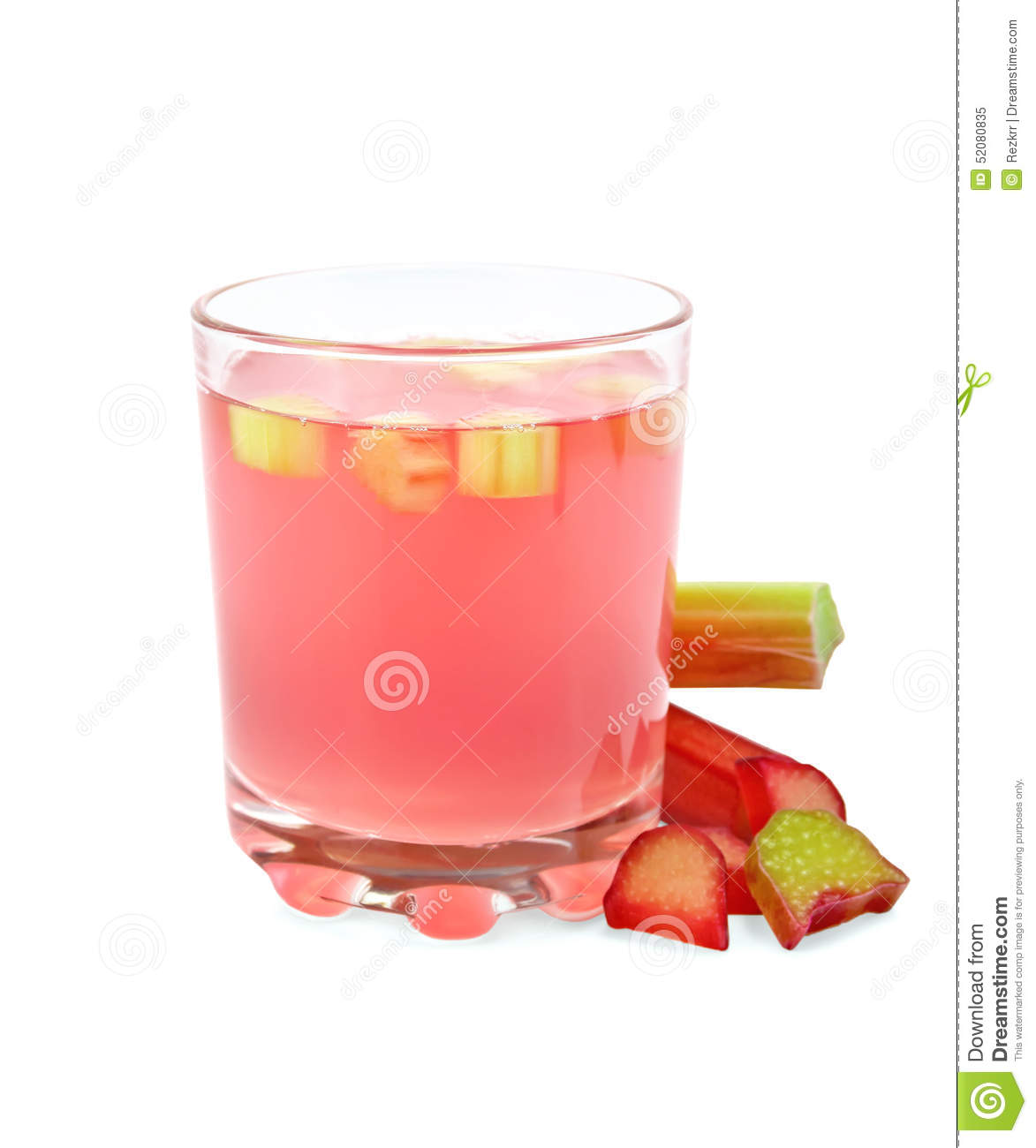 Compote from rhubarb in glassful with petioles