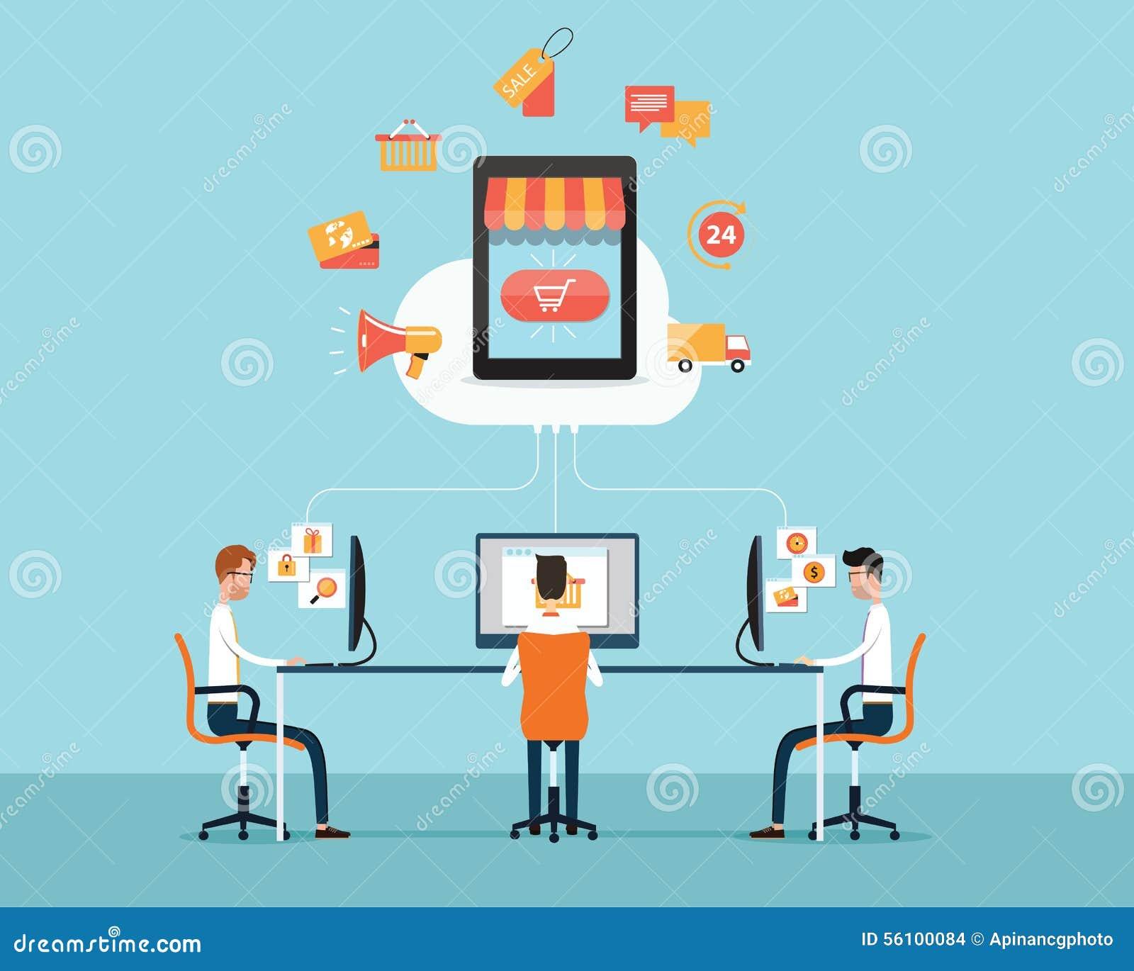 Compra do negócio dos povos na linha conceito Desenhos animados do negócio loja na nuvem