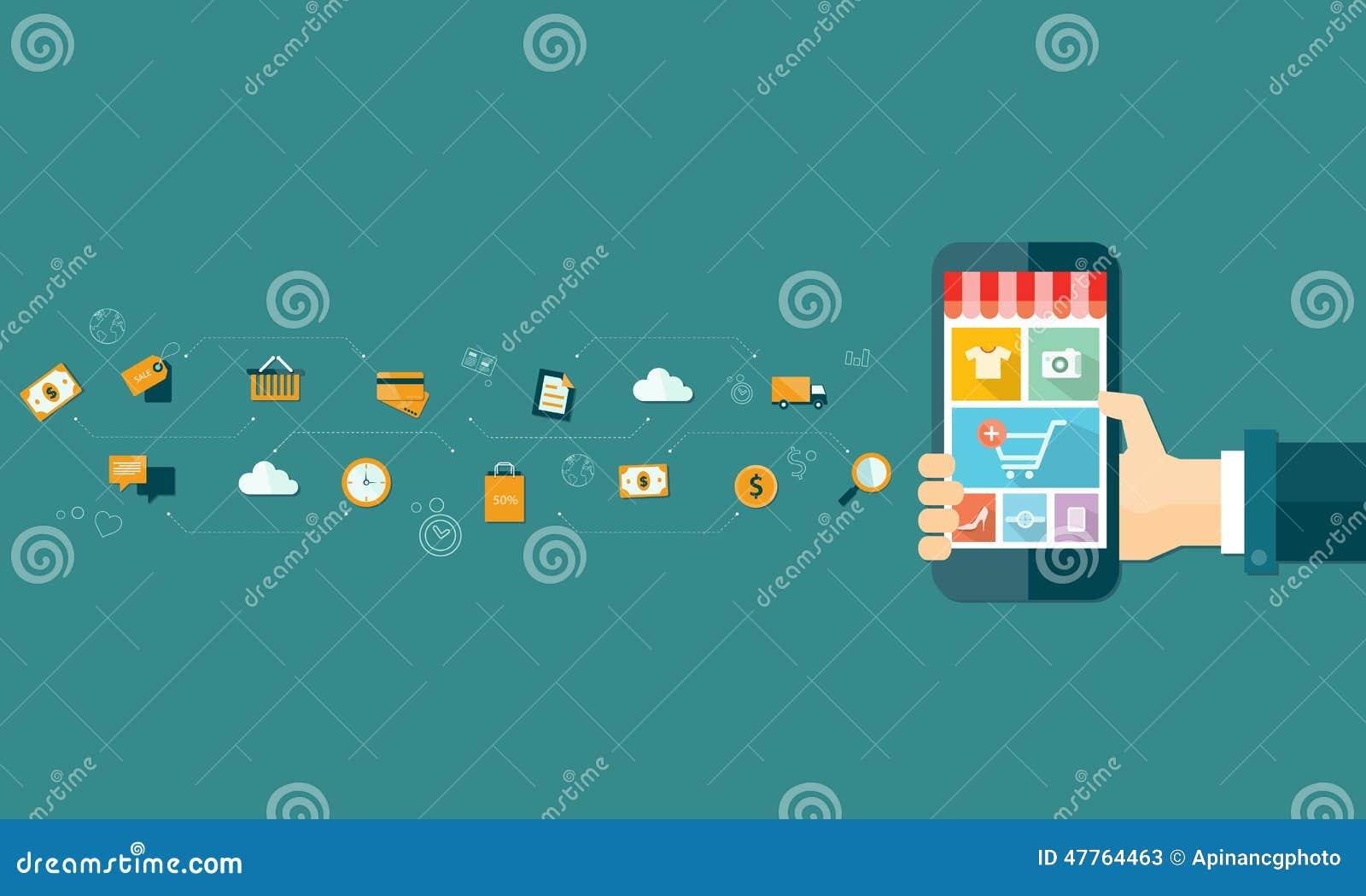 Compra e e-mercado em linha móveis do negócio no móbil