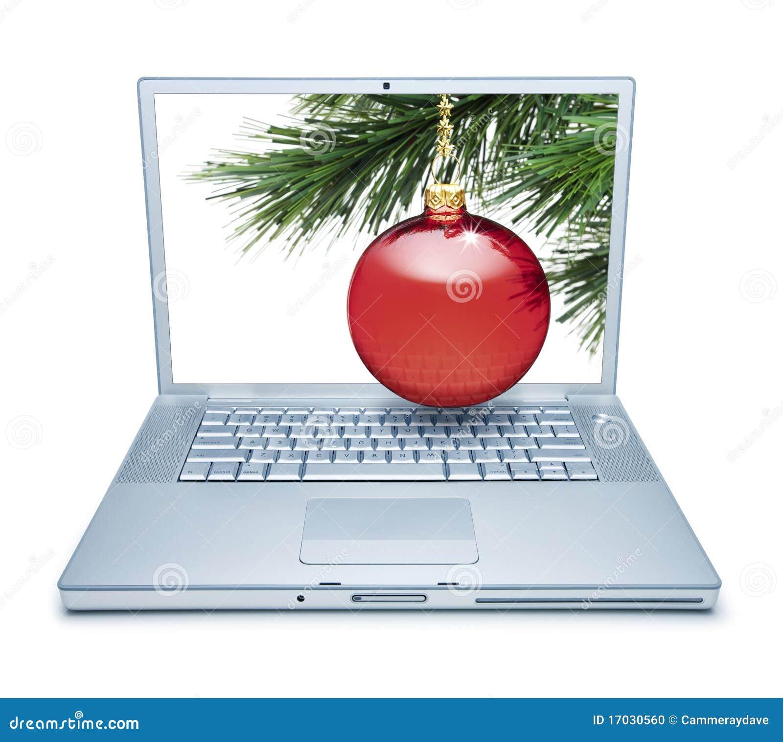 Compra em linha do computador do Natal