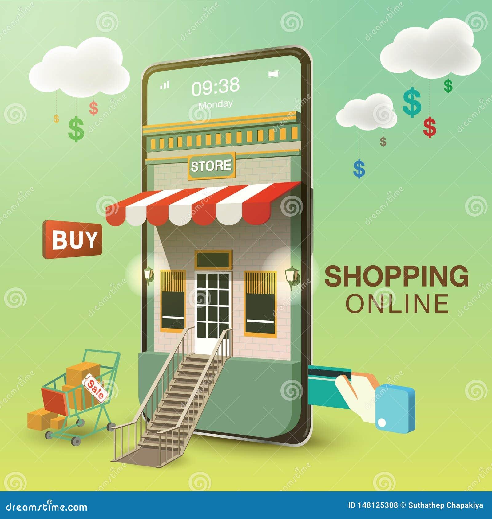 Compra em linha no telefone celular