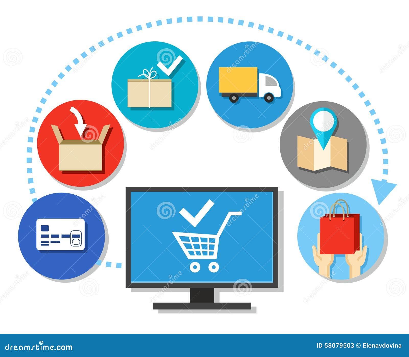 Compras, compras sobre o Internet, esquema, transporte, cor, lisa