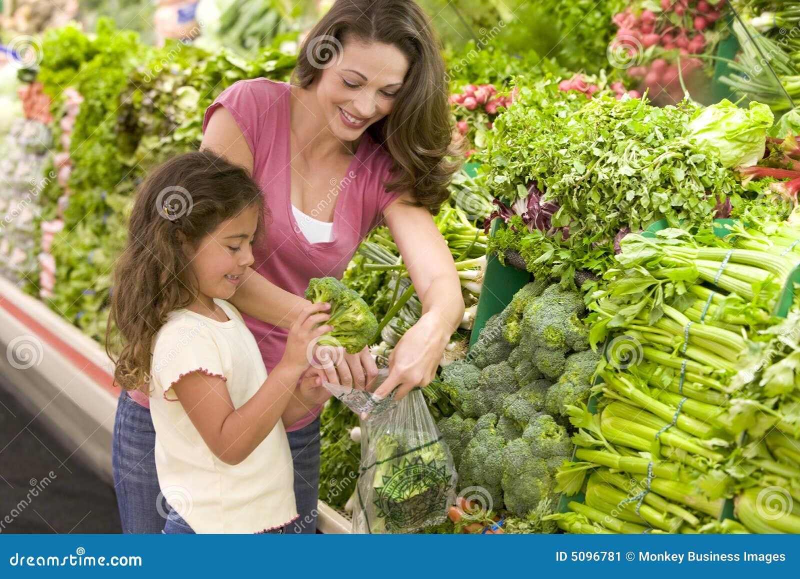 Compras de la madre y de la hija para el producto