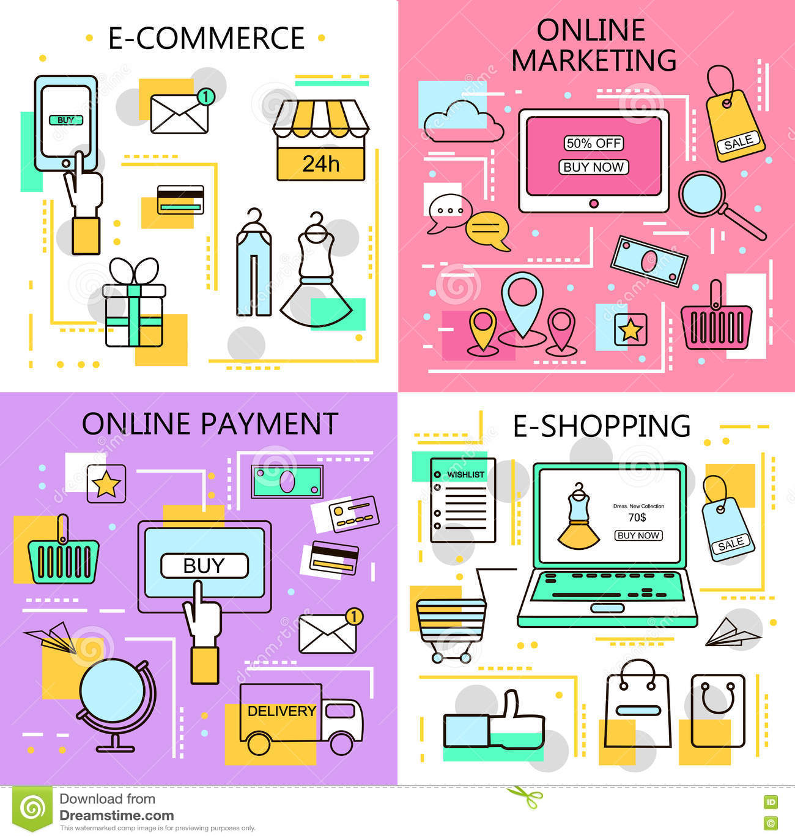 Compras En Línea Del Comercio Electrónico, Márketing, Banderas En ...