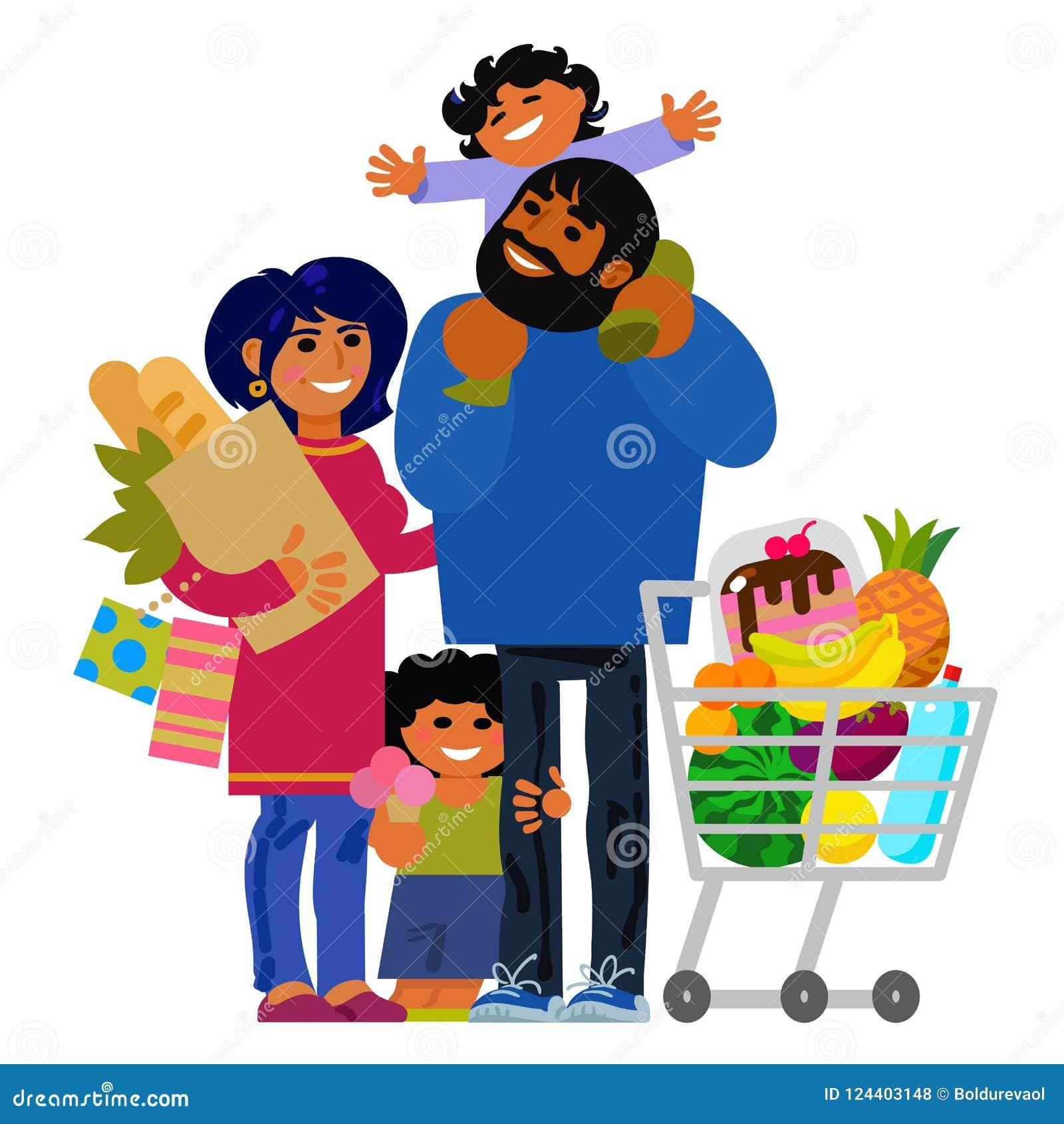 Compras jovenes felices de la familia Padre, madre y niños con los panieres y el carro de la compra Vector
