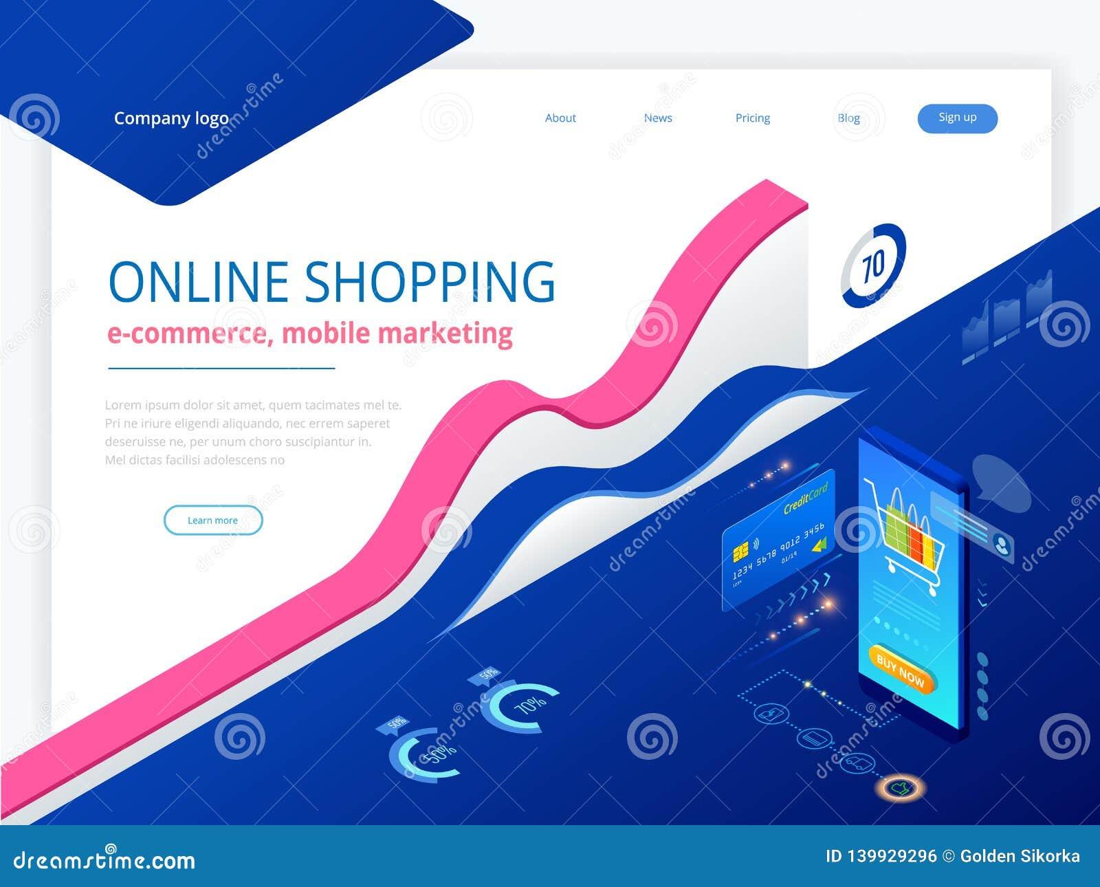Compras, venta, consumerismo y tienda en línea en línea Plantilla que hace compras en línea del smartphone elegante isométrico mó