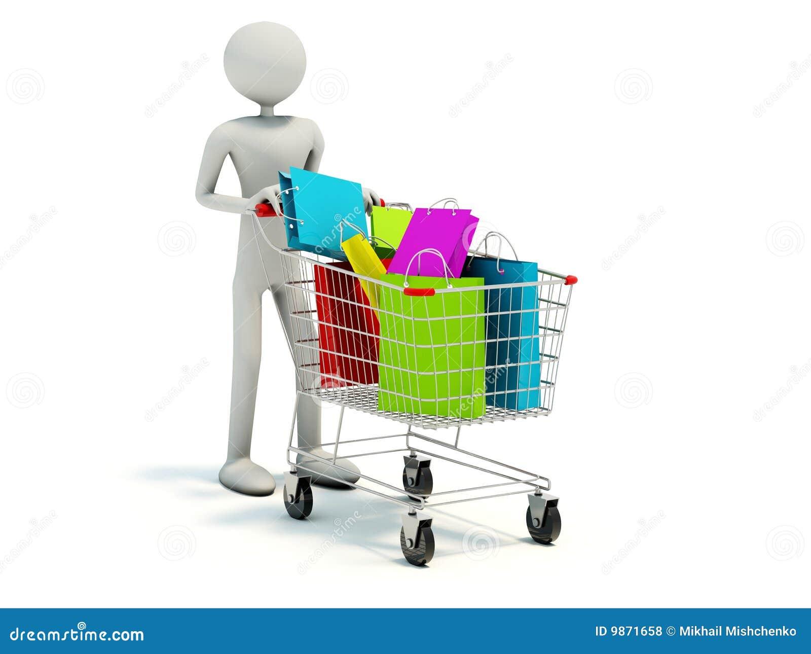 Compratore con il carrello di acquisto pieno