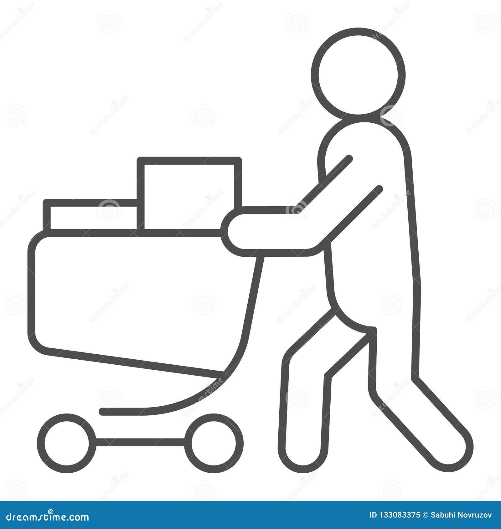 Compratore con la linea sottile icona del carretto pieno Persona con un illustrazione completa di vettore del carretto della drog