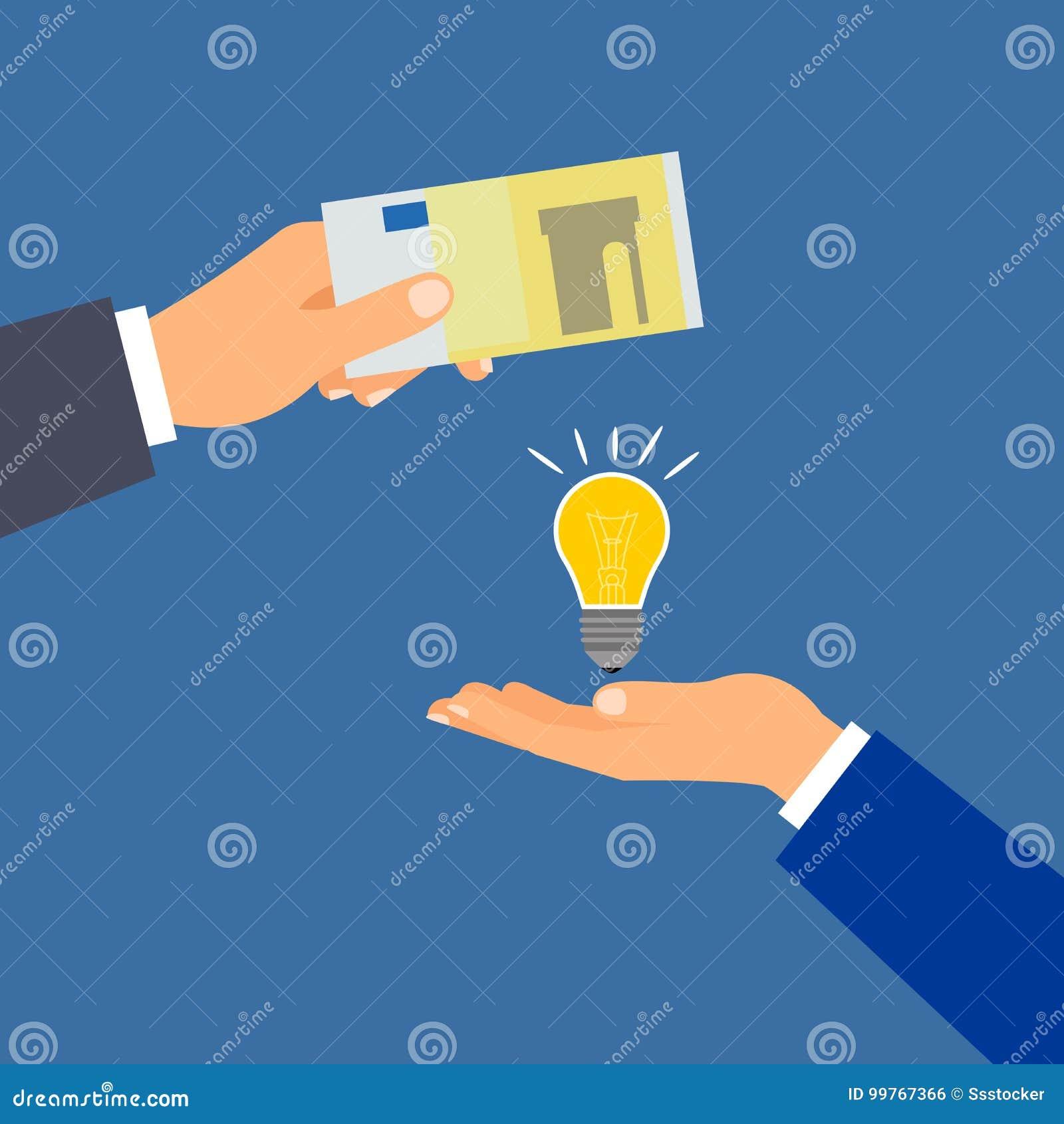 Compre a euro- ideia do dinheiro, conceito do negócio