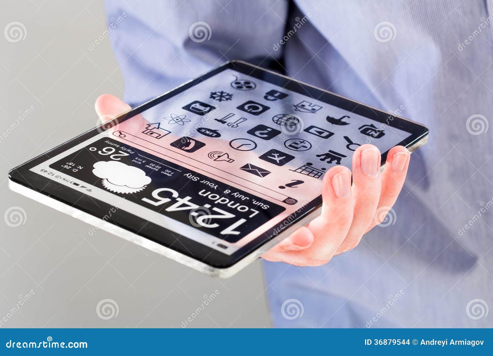 Download Compressa Con Lo Schermo Trasparente In Mani Umane. Illustrazione di Stock - Illustrazione di radura, blank: 36879544