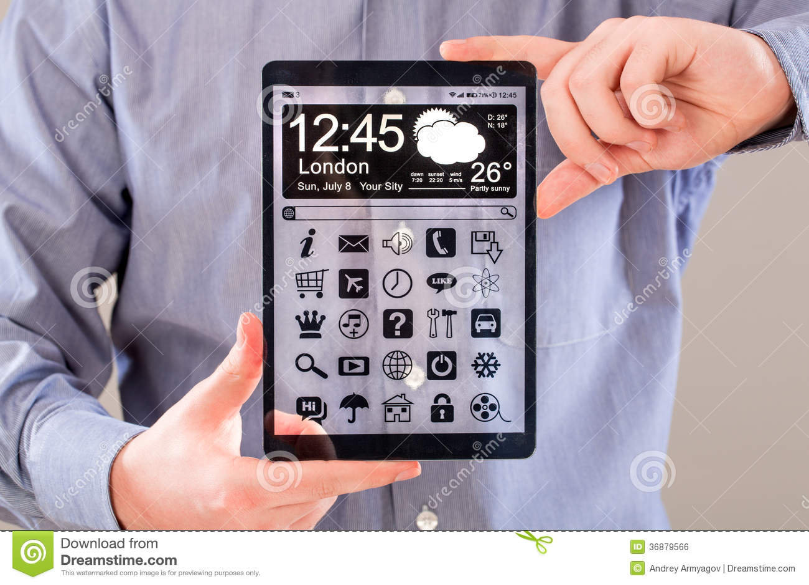 Download Compressa Con Lo Schermo Trasparente In Mani Umane. Illustrazione di Stock - Illustrazione di concetto, contatto: 36879566