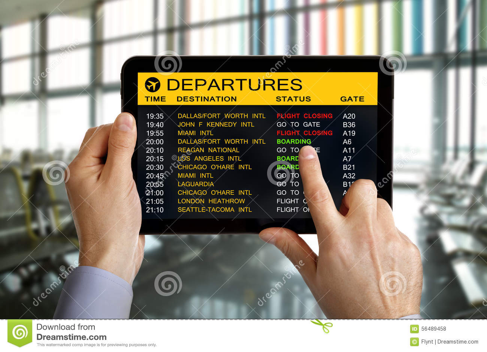 Comprimé de Digital dans l aéroport avec l information de vol