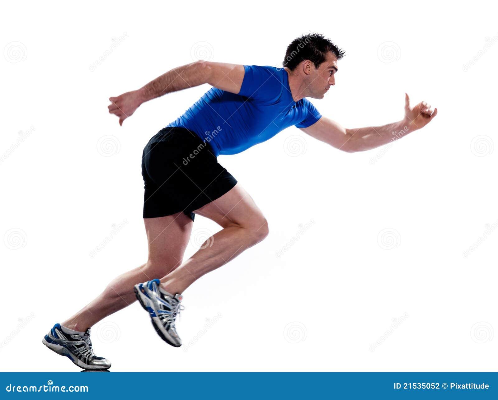 Comprimento cheio sprinting de funcionamento do perfil do homem